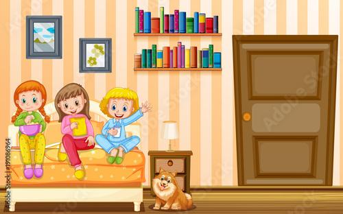 Keuken foto achterwand Kids Three girls and pet dog in bedroom