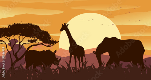 Foto op Aluminium Chocoladebruin Silhouette scene with wild animals at sunset