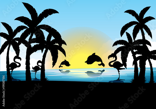 Foto op Aluminium Zwart Silhouette scene with dolphin and flamingo at sunset