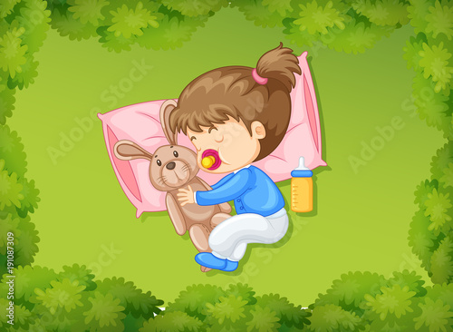 Poster Kids Little girl sleeping with bunny doll