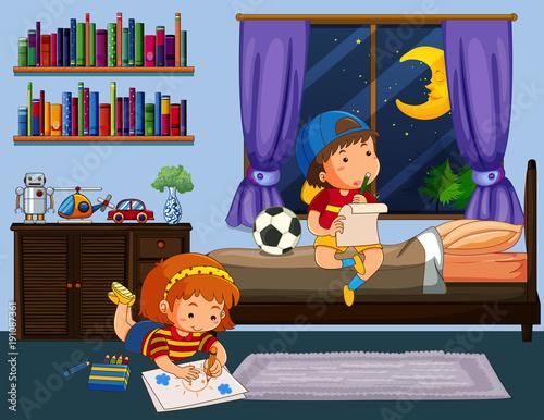 Keuken foto achterwand Kids Boy and girl doing homework in bedroom