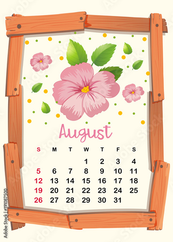Poster Kids Calendar template with pink flowers for August