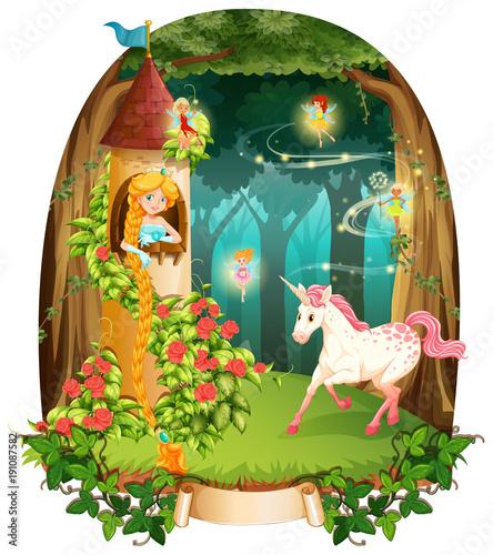 Keuken foto achterwand Kids Princess and unicorn in the tower