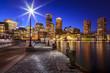 The Boston Harbor and Financial District in Boston, MA, USA.
