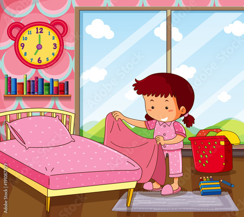 Poster Kids Girl making bed in pink bedroom