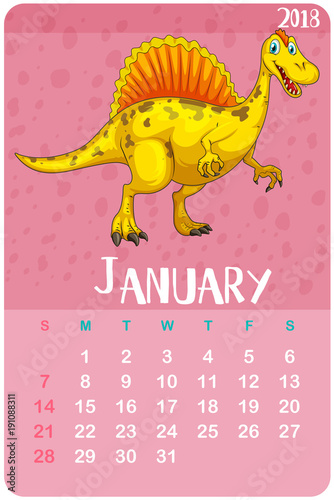 Fotobehang Kids Calendar template for January 2018