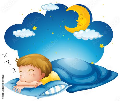Foto op Aluminium Kids Boy sleeping on blue blanket