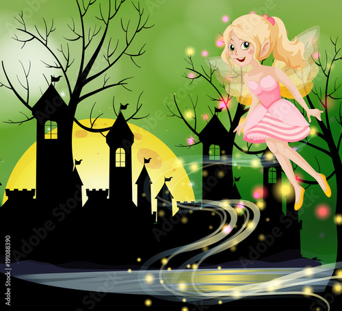 Keuken foto achterwand Kids Cute fairy flying with castle towers in background