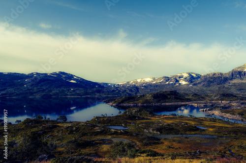 Fotobehang Zwart Himmel in Norwegen