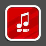 Hip hop icon. Flat design square internet banner. - 191092905