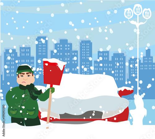 Poster Lichtblauw Man shoveling snow