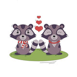 vector Valentine's day greeting card illustration with cartoon style raccoon