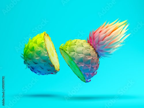 Multicolor slice pineapple on blue background 3D rendering - 191099792
