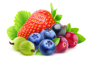 Isolated fresh berries. Pile of strawberry, blueberries, cranberries, gooseberries and black currant with leaves isolated on white background with clipping path
