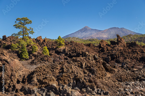 Fotobehang Diepbruine Teide National Park, Tenerife, Canary Islands - A picturesque view of the colourful Teide volcano, or in spanish 'Pico del Teide'. The tallest peak in Spain with an elevation of 3718 m
