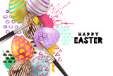 Painting Easter eggs vector illustration. Holiday greeting card, banner or poster with 3d decorative egg on watercolor splashes background. Art and craft concept.