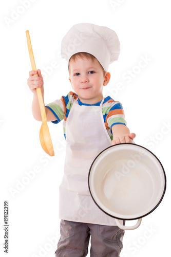 Fotobehang Koken Little cook showing empty white pan