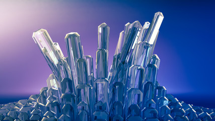 Beautiful background with crystals. 3d illustration, 3d rendering.
