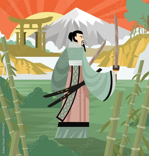 unarmored samurai with katana blades