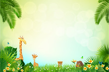 Jungle or Zoo Themed Animal Background