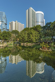 high rise office building and public park in central district of Hong Kong city - 191138320