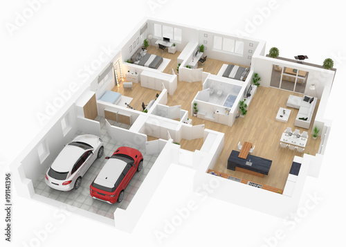 Floor Plan Top View House Interior Isolated On White Background 3d