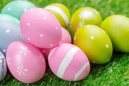 Deurstickers Gras easter eggs on the grass