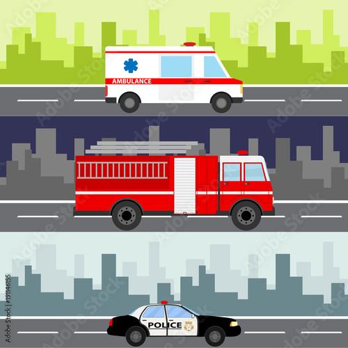 An ambulance, a fire truck, a police car on a city landscape