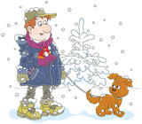 Winter walk with a dog. A man wearing warm clothes and walking over snow with his funny pup, a  vector illustration in cartoon style - 191146938
