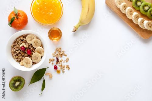 Healthy breakfast with muesli