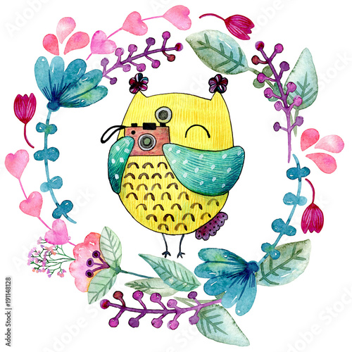 Fotobehang Uilen cartoon Watercolor funny illustration with owl and flowers.