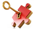 Golden key unlocking red puzzle piece. 3D illustration - 191148351