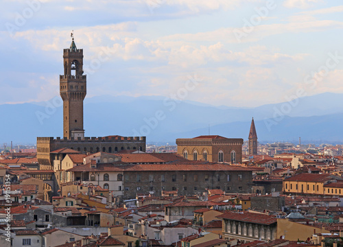 Papiers peints Florence Panoramic view of old buolding called PALAZZO VECCHIO in Florence In Italy