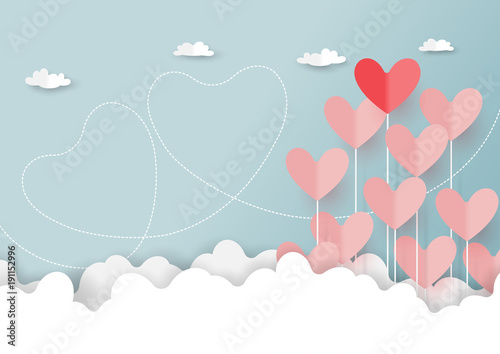 Fototapeta Paper art style of valentine's day greeting card and love concept.Origami floating hearts from clouds on blue sky background.Vector illustration.