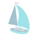 Yacht with sail vector - 191153963