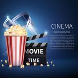 Cinema 3d movie vector background with popcorn and vintage film. Retro cinema poster - 191154541
