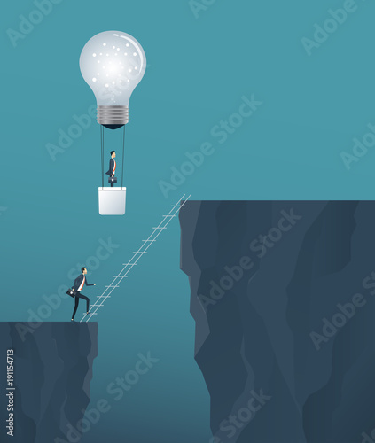 flat vector creative  idea for business solve  concept  and business competition concept with two business people  cross the cliff .