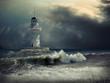 Quadro Lighthouse on the sea under sky