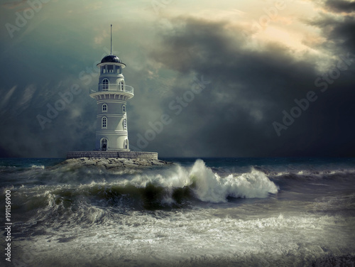 Foto Murales Lighthouse on the sea under sky
