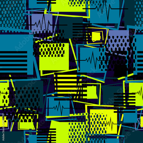 Abstrakcjonistyczny bezszwowy sporta wzór dla dziewczyn, chłopiec, odziewa. Tło wektor kreatywnych sport z kwadrat, paski, kropki, linie. Śmieszne tapety na tekstylia i tkaniny. Moda sportowa kwadratowy styl.