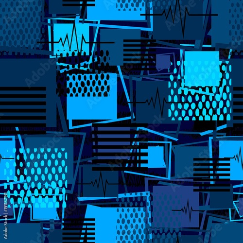 Fototapeta Abstract seamless sport pattern for girls, boys, clothes. Creative sport vector background with square, stripes, dots, lines. Funny wallpaper for textile and fabric. Fashion sport square style.