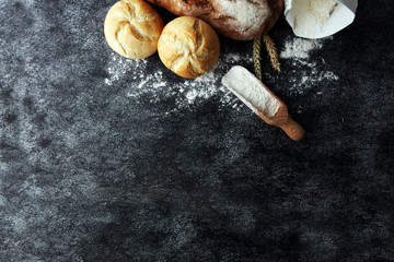 Different kinds of bread and bread rolls. Kitchen or bakery poster design