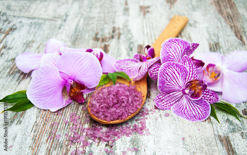 Spa salt and orchids
