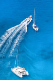 Azure bay with yachts in Greek sea - 191160300