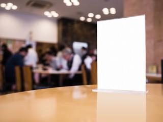 Mock up Menu on Table Bar Restaurant Cafe with Blur People Shop interior
