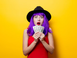 hipster girl with purple hairstyle with money - 191165574