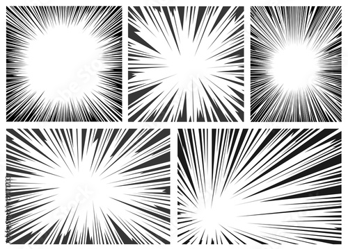 Set of black and white, gray radial lines comics style background. Manga action, speed abstract. Vector illustration. Isolated on white background - 191171733
