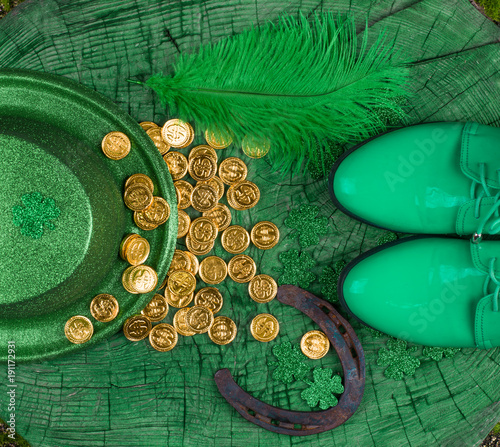St. Patrick's Day, green wood background