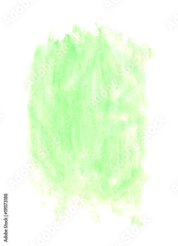 Abstract texture brush ink background green aquarel watercolor splash hand paint on white background