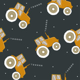 Seamless pattern with cool tractor. Vector hand drawn illustration. - 191175566